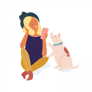 Illustration Dabbl lady with phone and a dog