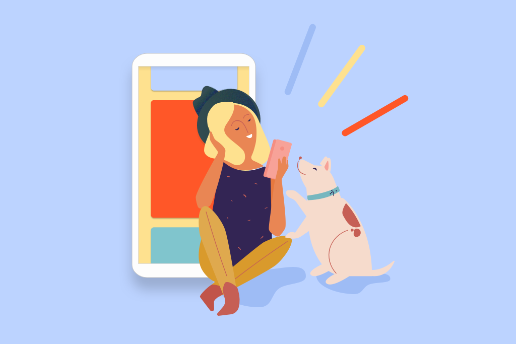 Lady with dog and phone