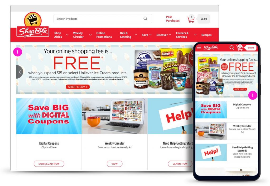 Home page advertising for ShopRite.com